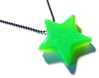 Green Star Necklace, Neon Resin Pendant, Lime Green, Black, UV Reactive Rave Jewelry
