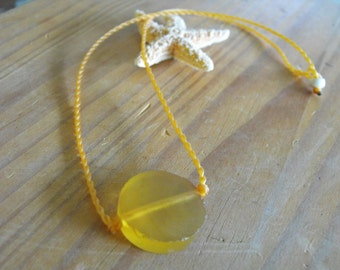 Twisted Rope Necklace with Orange resin