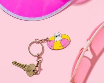 Cool Kitty Enamel Keyring // Charm Keychain/ Key Chain, Cat Keyring, Cat Keychain, Cat Key chain// KR006