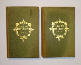 1905 SENSE AND SENSIBILITY by Jane Austen, Decorative Binding, Austen's Works, 2 Volumes Complete