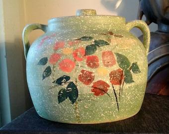 Vintage Pottery Canister Cookie Jar Green Speckle Sponge Hand Paint Flowers Ear Handles Lidded Retro 1940s Retro Kitchen Decor Storage Jar