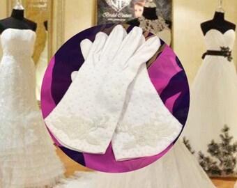 Vintage Beaded Wrist Lenght Ladies Gloves, Wedding Bridal