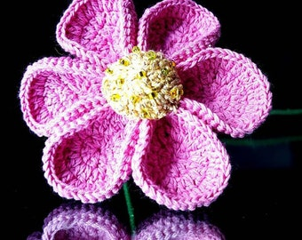 Crocheted Violet Rose Flower