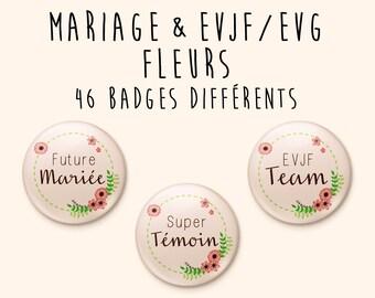 Badge Mariage Nature / Fleurs / Romantique / Champêtre - à l'unité