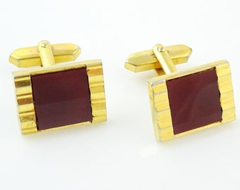 Vintage Cufflinks Gold Tone with Red Stone
