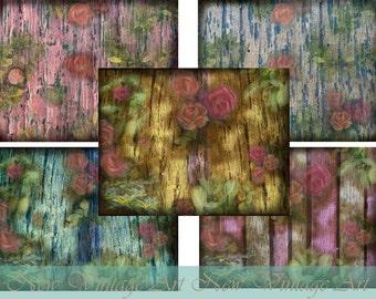 Vintage Wood Grain- Rose digital paper kit
