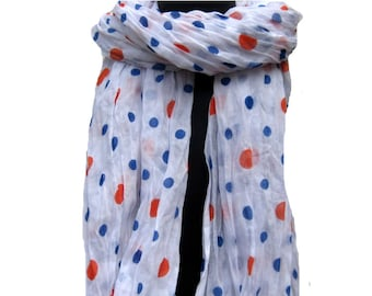 Polka dots scarf/ white scarf/ fashion scarf / cotton  scarf/ hand painted scarf/  gift ideas.
