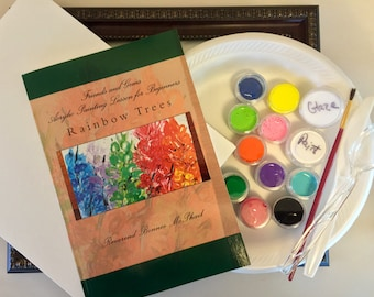 DIY Canvas Painting Kit for All Ages - Rainbow Trees - Frame Included