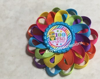 Back to school 100 days smarter loopy flower hair bow