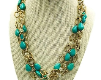 Vintage Gold Chain Turquoise and Clear Stone Statement Necklace