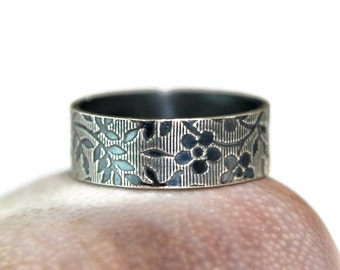Sterling Silver Floral Band, Wide Silver Band, Vintage Style Jewelry, Simple Ring, Casual Jewelry, Thumb Ring