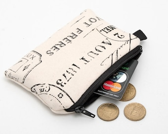 Coin purse, small zipper pouch, french script padded change purse  - Paris stamps