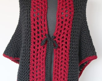 Red and Black Wool Acrylic Yarn Red Berry Color Crochet Trim Chunky Knitted Shawl Wrap Stole with Cord Ties