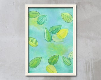 WATERCOLOR Leaves Print, Relax Print, Art Print, Gift For Her, Gift for Mom, Wall Art Prints, Blue, Green, Yellow, Minimal, APIRO PRINTS