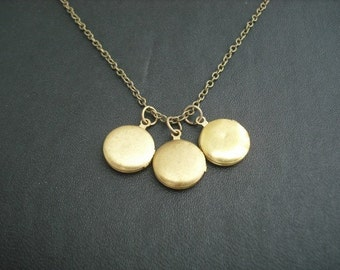 Locket necklace, Antique Brass Mini Locket Trio Necklace