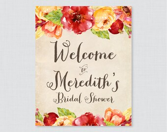Fall Bridal Shower Welcome Sign Printable - Rustic Bridal Shower Customizable Sign - Red, Orange Flower Bridal Shower Decor Sign 0018