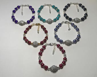 Rhinestone ball bracelet