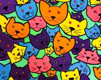 "52 Cats! Cat Face Painting - Bright Pink, Orange, Blue, Purple, & Orange w/ Swarovski Crystals - Ready To Hang 12x9"""