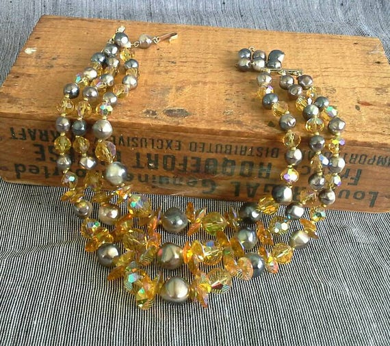 Vintage Three Strand Faceted Citrine Glass Signed Laguna Necklace