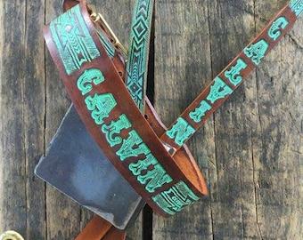 Leather Dog Collar & Leash Set  ( Western dog collar ,, tooled leather dog collar ,, personalized dog collar ~ matching leash )