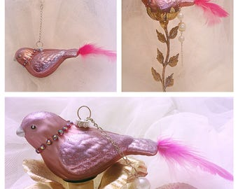 shabby pink bird ornament, pink bird ornament with heart, pink bird , Bird ornaments