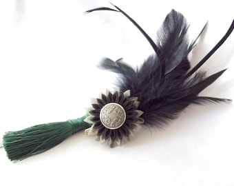 Black  Feather Fascinator with Kanzashi Flower and Forest Green Tassel