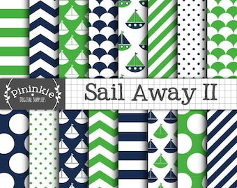 Nautical Scrapbook Paper, Baby Boy Green and Blue Digital Paper, Instant Download, Sailboats, Boats, Polka Dots, Chevrons, Stri