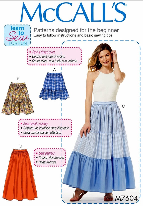 Gathered Skirt Pattern Learn to Sew Skirt Pattern Pull-on