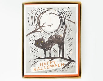 Black Cat Halloween Card 8pcs
