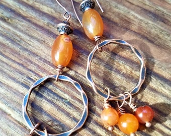 Carnelian and Copper Hoop Earrings