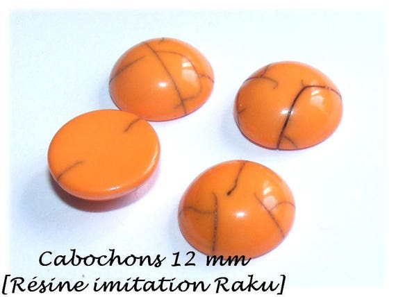 Orange cabochon, primer DollyDoo, 12 mm cabochon for earrings, cabochon, cabochon faux Raku cabochon stick earrings