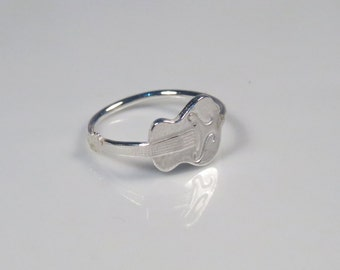 Silver guitar ring, music ring novelty ring, Guitar jewelry gift for music lover, Music jewelry