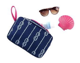 Monogram Makeup Bag Monogram Cosmetic Bag High Tide Zip pouch Cosmetic Bag Monogram Make up Bag Monogrammed Bridesmaids Gifts for Her
