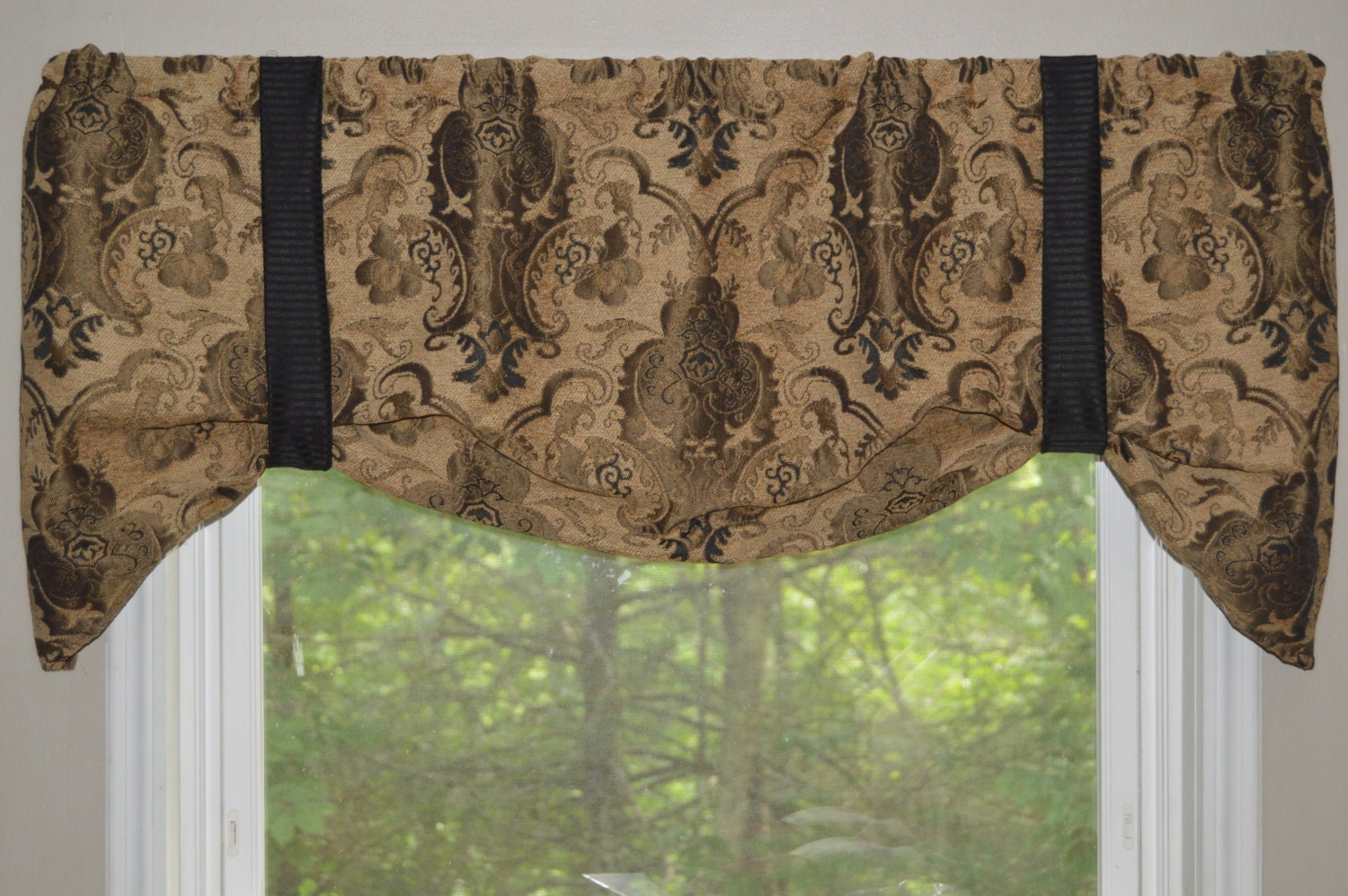 pocket valance rod window brown tree highlands cabin