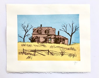 Old House Original Screenprint Art Print