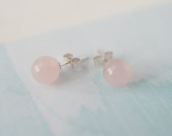 Rose Quartz Stud Earrings, Gemstone Stud Earrings, Rose Quartz Earrings, Gemstone Earrings, Sterling Silver Studs, Handmade Earrings