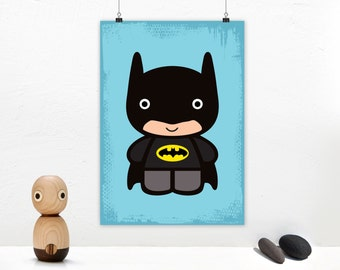 Poster print wall art. Superhero illustration art with cute Batman baby. Nursery wall art for instant download. Available in 3 sizes.