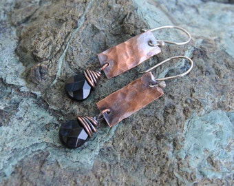 Black Onyx Earrings, Copper Earrings, Mixed Metal Earrings, Elegant Earrings, Hammered Copper Earrings, Oxidized Copper