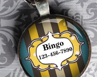 Pet iD Tag yellow brown and blue striped colorful round Dog Tag 35mm round -  by California Mutts