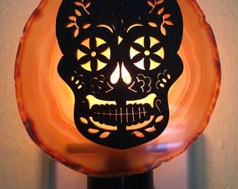 Sugar Skull Agate Slice Night Light - Geode Night Light - Sugar Skull Light
