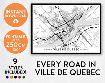 Ville de Quebec map print, Printable Quebec City map art, Ville de Quebec print, Canada map, Ville de Quebec art, Ville de Quebec poster