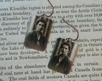 Science earrings Inge Lehmann Womens History mixed media jewelry