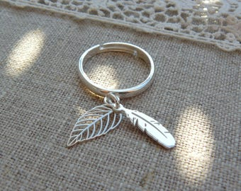 925 sterling silver ring, feather and leaf in Sterling Silver 925