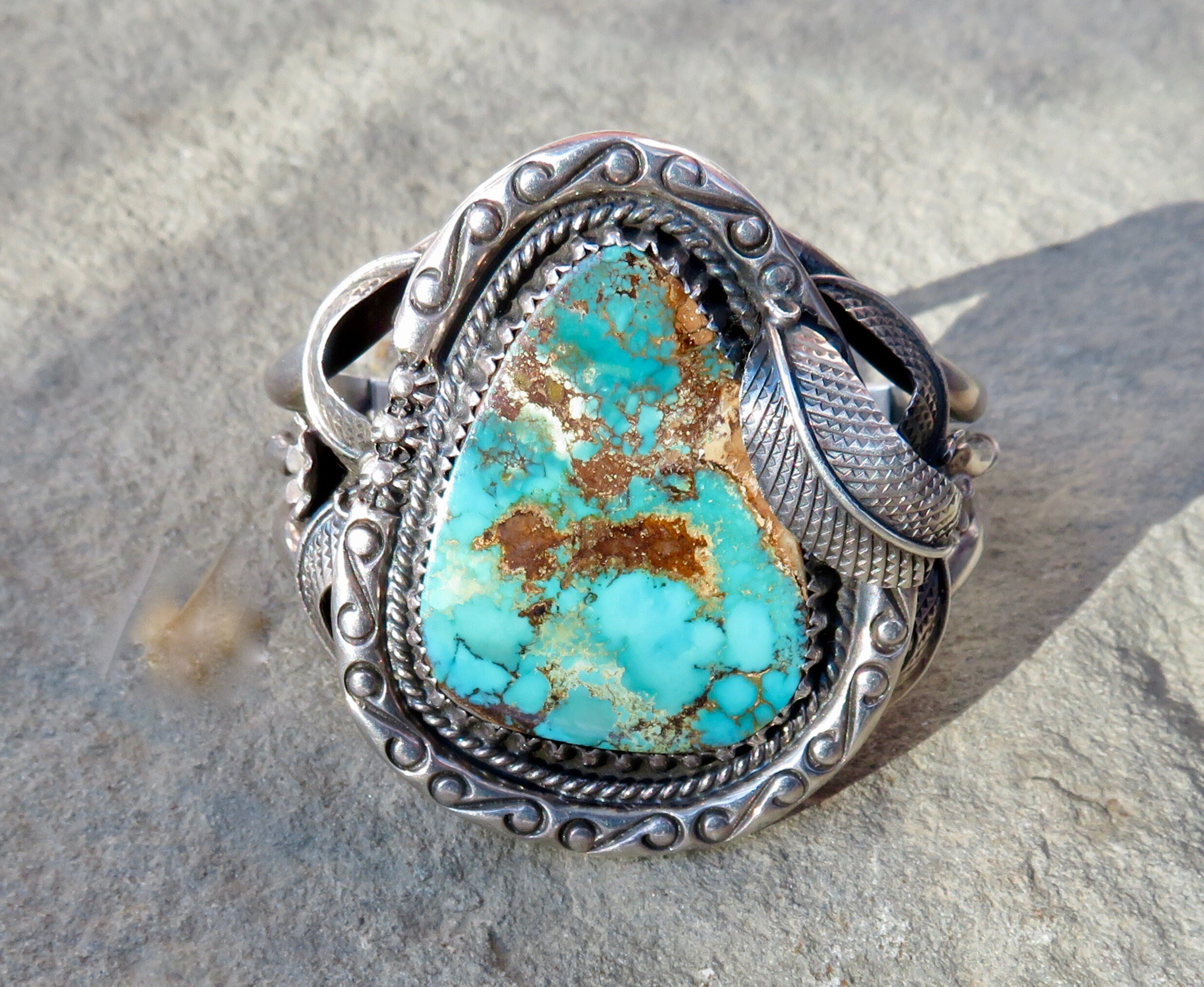 sterling bracelet morgan cast navajo products turquoise village by handcast natural silver hand and henry