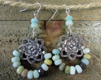 Signature Gemstone Earring, Turquoise Earrings, Peruvian Opal , Moonstone Chandeliers