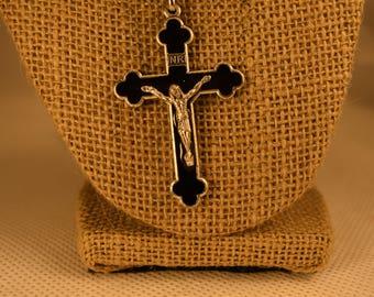 Rosary Cross Necklace, Cross, Job's Tear Beads.