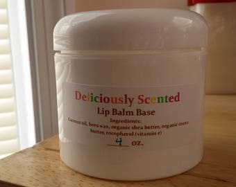 4 oz. LIP BALM BASE - All Natural Organic Ingredients, Vegan, Unsweetened, Great for lip balm, solid perfume, lotion bars and foot balm