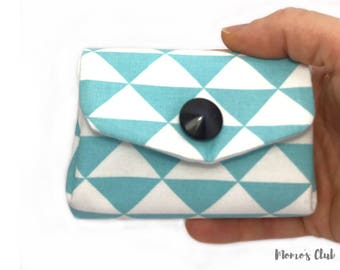 Coin Purse-Smart Wallet-coin Purse-Cash System-Portaspicci with white and celestial triangles