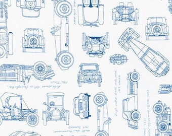 Car blueprints etsy vintage car fabric vintage blueprints automobile blueprint fabric robert kaufman 15674 4 blue car malvernweather Images