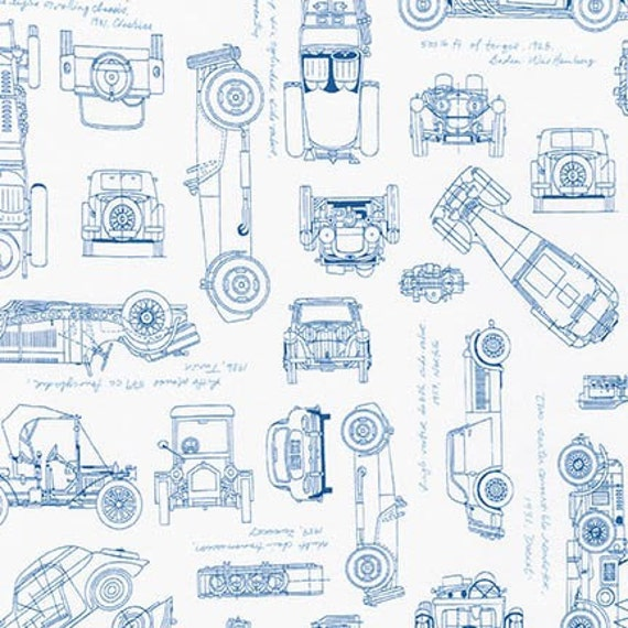 Vintage car fabric vintage blueprints automobile blueprint vintage car fabric vintage blueprints automobile blueprint fabric robert kaufman 15674 4 blue car fabric fat quarters and by the yard malvernweather Image collections